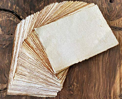Handmade Antique Deckle Edge Blank Cards - 4'x6' Package of 50 - Mixed Media Cards for Announcements, Invitations, Crafts - Thick 130 GSM Recycled Paper