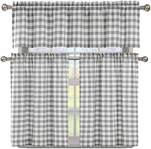 Elegant Linens 3 PC. Country Buffalo Plaid Gingham Checkered Premium Cotton Blend Kitchen Curtain Tier & Valance Set - Assorted Colors (Grey)