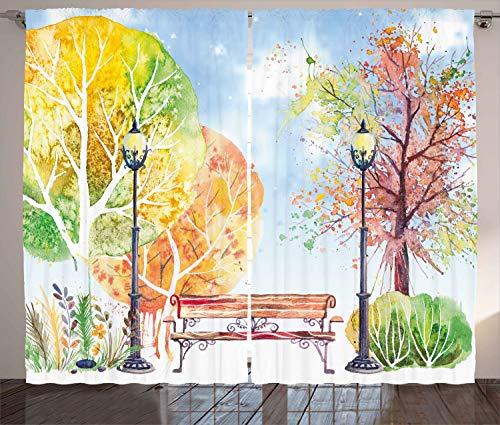 ABAKUHAUS Aquarell Rustikaler Vorhang, Herbst-Park-Baum-Laterne, Wohnzimmer Universalband Gardinen mit Schlaufen und Haken, 280 x 245 cm, Blau Gelb