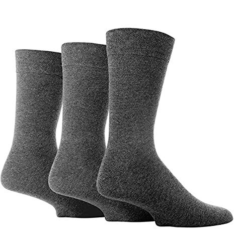 FARAH® Mens 3 Paar Plain Comfort Cuff Socks Charcoal 11.06 Mens