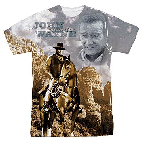 John Wayne Ride Em Cowboy Mens sublimación Camiseta Blanco 2X