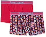 bruno banani Herren Short 2er Pack Hawaiian Mask Boxershorts, Rosa Plum Print//Azalee 2629, Medium (2erPack)