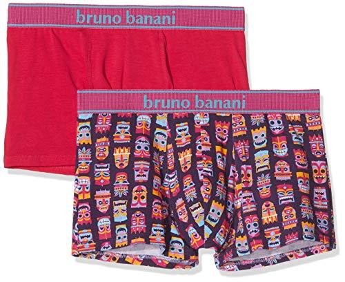 bruno banani Herren Short 2er Pack Hawaiian Mask Boxershorts, Rosa (Azalee/Plum Print//Azalee 2629), Large