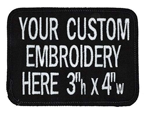 3in X 4in Custom Personalized Embroidered Patch for Workshirt or Uniforms. Black with Black Border. Up to 3 Lines of Text, Made in Wisconsin.