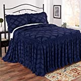 Direct Home Textile Group Marissa Chenille Bedspread King Cotton Navy