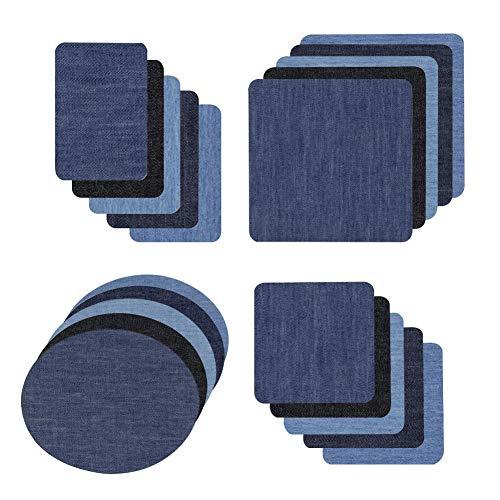 Ancdream, 20 piezas de parches para planchar, parches de algodón para planchar, kit de reparación para planchar, 4 tamaños, 5 colores
