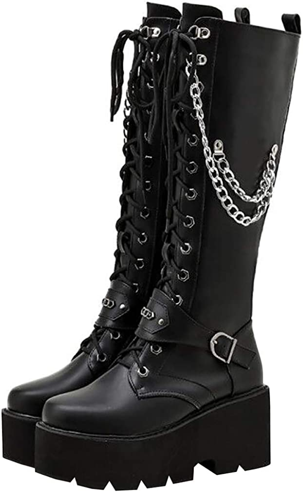 Parisuit Women's Knee High Goth Platform Buckle Boots Chunky High Heel Lace Up Punk Combat Boots with Chain