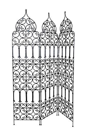 Orientalischer Paravent Raumteiler aus Eisen Marrakesch 120 x 180cm hoch in Schwarz | Marokkanische Trennwand als Raumtrenner oder Dekoration im Zimmer oder Sichtschutz im Garten, Terrasse oder Balkon