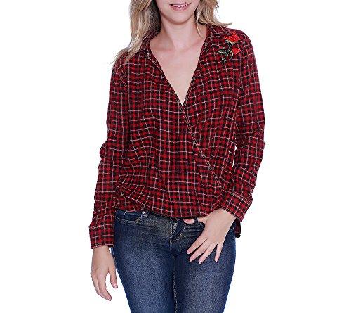 Taylor & Sage Damen Plaid Flannel Surplus Hemd, Rot (Vintage Red), Mittel