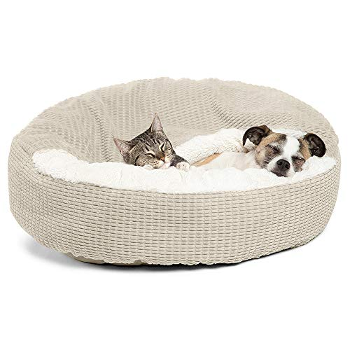 Best Friends by Sheri Cozy Cuddler Luxury CZC-MSN-OYS-2323 Orthopedic Dog and Cat Bed with Hooded Blanket for Warmth and Security - Machine Washable, Water/Dirt Resistant Base - Standard Oyster