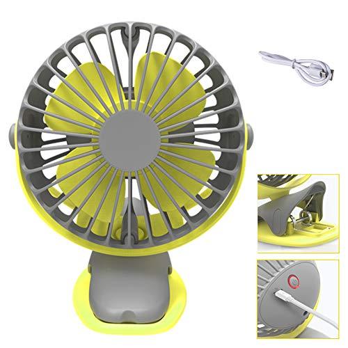 BEIAKE Ventilador De Aire De Rotación Completa De 360 Grados Refrigeración Mini Ventilador 4 Velocidades Carga USB Ventilador De Clip De Escritorio Ventilador Recargable De 4000 Mah,Amarillo