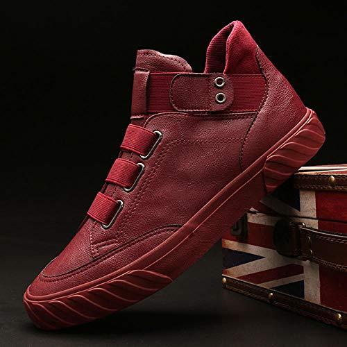 MASAP Martin Boots Male Zapatos de Hombre otoño Martin Botas Tendencia Zapatos Altos Zapatos de Hombre Moda Casual de Hombre Zapatos de algodón de Invierno 41_ Vino Rojo_
