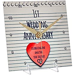 3dRose dc_154428_1 1St Wedding Paper Celebrating 1 Year Together First Anniversaries One Yr Desk Clock, 6 by 6-Inch