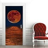 Etiqueta de Puerta Cielo Estrellado Del Planeta Del Mar Pegatinas de Pared Decoración de Hogar 95 x 215 cm