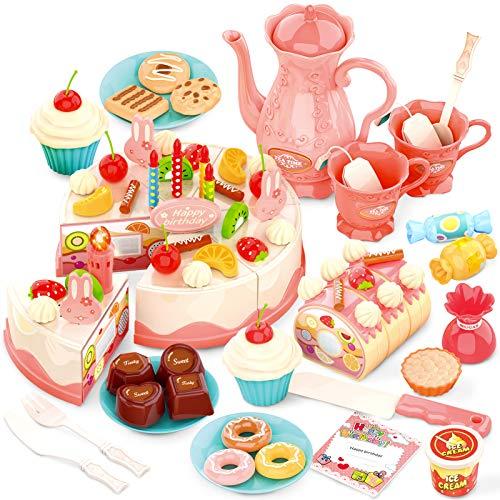 HERSITY 82 Piezas Tarta de Cumpleaños Postres Corte Juguete con Velas Luces y Sonidos Alimentos Cocina Juego de rol Regalo para Niños 3 Años Rosa