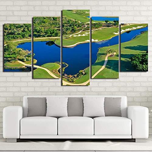 XIANGLL Leinwanddruck,5PC Panel Elegante HD-Druck Hd Printed Art Course Schöne Pool Malerei Wandbilder Wohnzimmer Modern Große Wandbehang