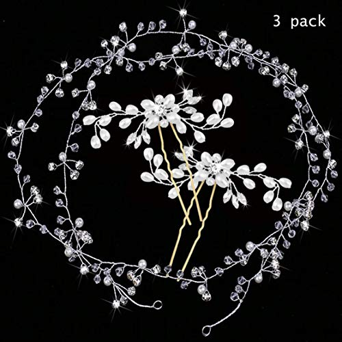 Killow 3packs 2pz Forcine Nuziale Sposa per Capelli e 1pz Fascia Nuziale per Capelli Accessori Decorazione Capelli per Matrimonio Sposa
