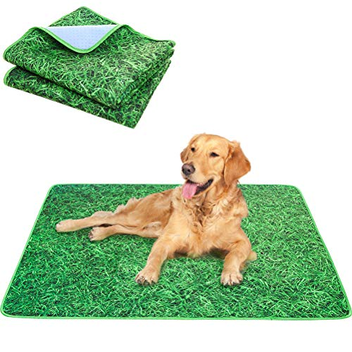 KOOLTAIL Washable Pee Pads for Dogs 2 Packs - Non-Slip Reusable Pee Pads Puppy Potty Training Mat, Waterproof and Absorbent Whelping Pad, Simulation Grass Lawn