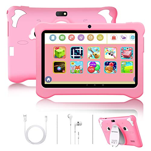 Android 10 Kids Tablet Toy 7 inch Laptop Cheap Tablet PC 5MP Dual Camera Edition 3GB RAM 32GB ROM/128GB Parental Control Children Tablet,WiFi,Bluetooth,Google Playstore,for Kids Birthday Gift(Pink)