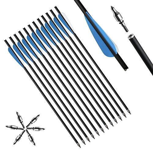 Toparchery 12er Carbon Armbrustpfeile 16Zoll/20 Zoll Carbonpfeile Armbrustbolzen Bolzen für Armbrust mit 4 Zoll Schaufeln (20 Zoll mit Blau Flügeln)