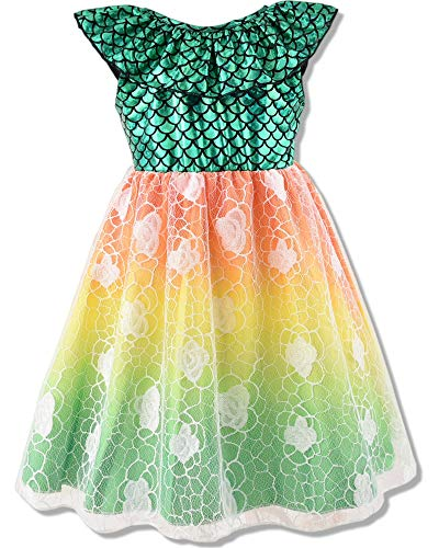 Toddler Girls Mermaid Dress Baby Girl Sleeveless Lace Sundress Infant Summer Casual Outfits Clothes Dresses Green