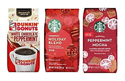 Starbucks Peppermint Mocha Coffee, Dunkin Donuts White Chocolate Peppermint Coffee, & Starbucks Holiday Blend Ground Coffee Sampler of 3 Bags - 32 oz Total of Limited Edition Coffees - Arabica Coffee