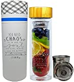 The Original NALU INSPIRE -Dancing Star- The Perfect Gift to Inspire: Tea Infuser Tumbler, Fruit Infusion Glass Bottle & Coffee Brewer with Filter 15.8oz