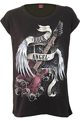 Spiral Rock Angel Damen-T-Shirt, lockerer Schnitt Gr. XXL, Schwarz