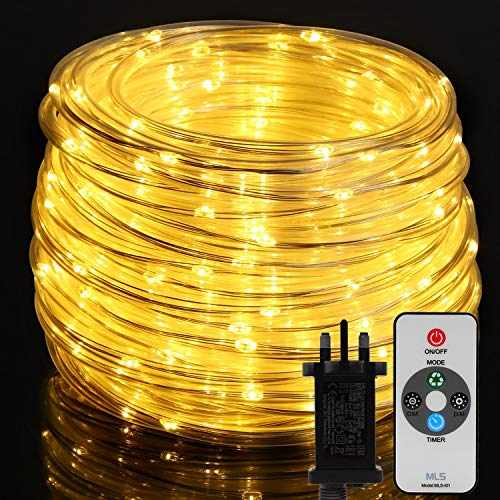 300 LED Rope Lights Mains Powered, OxyLED 20M IP65 Waterproof Outdoor String Lights with Remote Control&Timer for Indoor Outdoor, Garden, Pool, Tree,Christmas Decoration(Warmwhite)