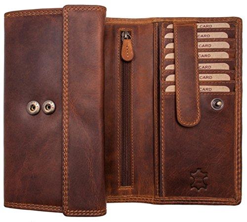 Hill Burry Echt-Leder Damen Geldbörse RFID | hochwertiges Vintage Leder Geldbeutel - XXL weiches Portemonnaie/Portmonee (Dunkel Braun)