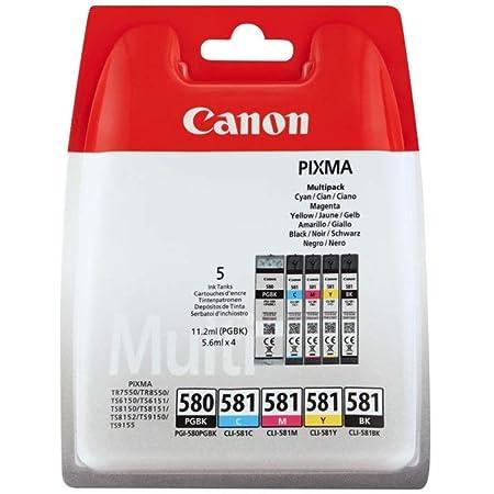 Canon PGI-580/CLI-581 Cartouche BK/CMYK Multipack Noir, Cyan, Magenta, Jaune (Multipack plastique sécurisé)