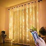 Window Curtain String Lights, 300 LED USB Powered String Lights, 8 Lighting Modes Waterproof Decorative Lights for Bedroom Wedding Party Backdrop Outdoor Indoor Wall Decoration(9.8x9.8 Ft)