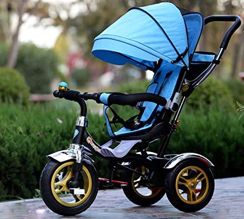 LJYDMMHH Triciclos Bebes, Smart Trike Plegable, Reposapiés Plegable-Asiento Regulable-Estructura Tubular de Metal Triciclo Evolutivo Plegable 4 en1 Trike Bicicleta para, 1-5 años, Blue