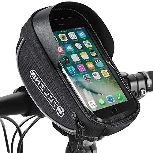 WOTOW Fahrradrahmen-Tasche, Fahrrad-Vordertube-Tasche Crossbar-Handy-Taschenhalter Wasserdicht mit Regenschutz für 4,7-6,5-Zoll-Smartphones