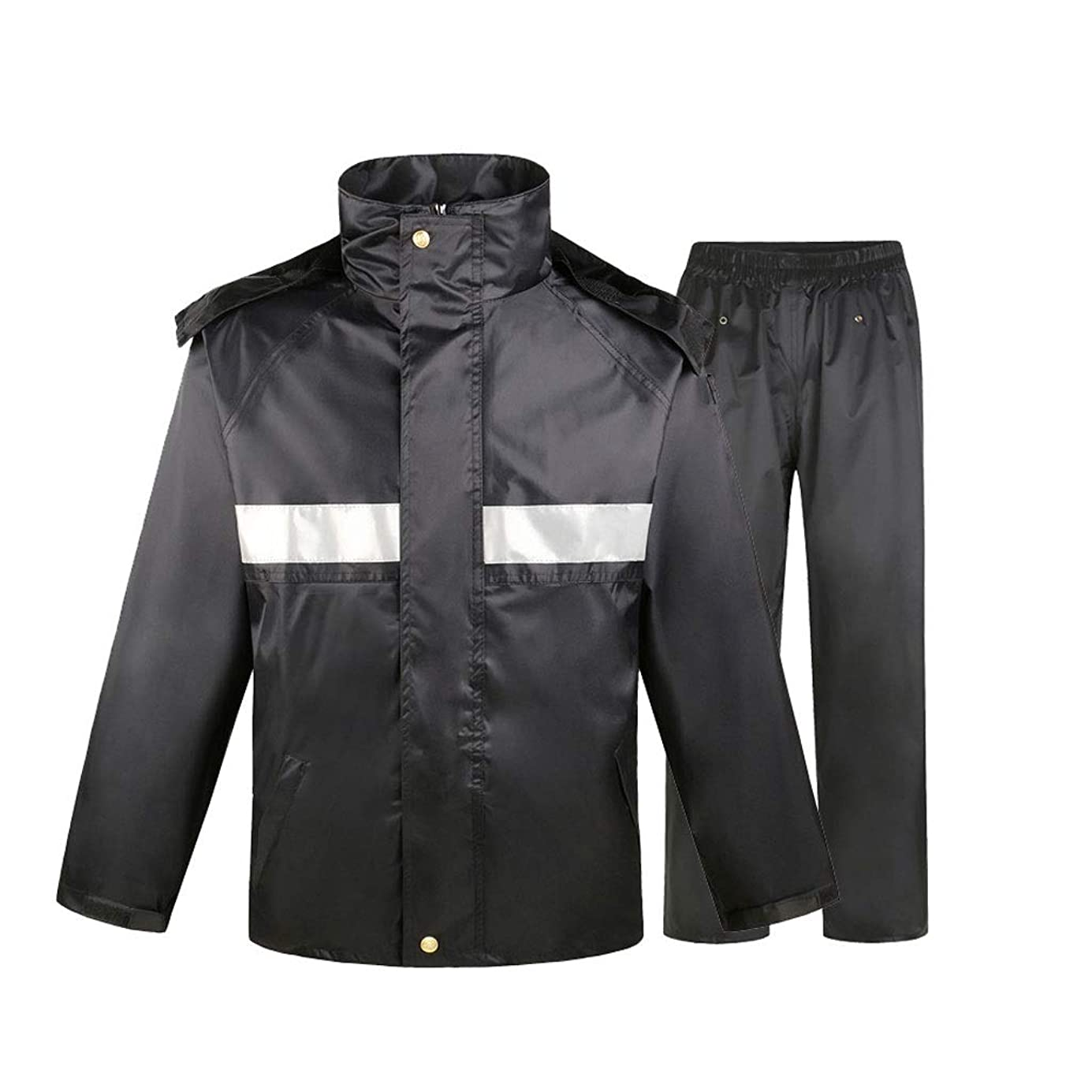 削除する穏やかな現れるBFQY 安全レインジャケット、キャップ付き高視認性防水レインコート、防水および防風加工レインコート、マルチサイズ (Size : L)