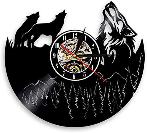 ZZNN Reloj de Pared de Vinilo Pieza de Reloj de Vinilo Registro Animal Moderno iluminación Vintage decoración del hogar Animal Amante de los Animales Regalo