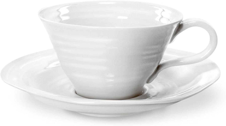 Portmeirion Sophie Conran White Teacup and Saucer, Set of 4