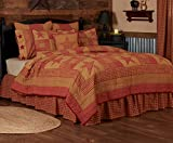 VHC Brands Ninepatch Star Twin Quilt 68Wx86L Country Patchwork Design, Burgundy