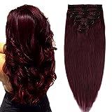 Extension a Clip Cheveux Naturel Maxi Epaisseur - Rajout Vrai Cheveux Humain Double Weft 100% Remy Hair 8 Pcs (40 cm (130 g) #99J VIN ROUGE)