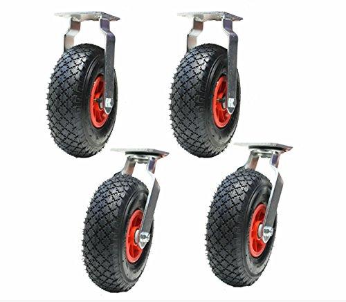 """4 - 10 """"pulgadas 260mm ruedas neumáticas 2 giratorio y 2 fijos (300x4) inflados bombeados"""