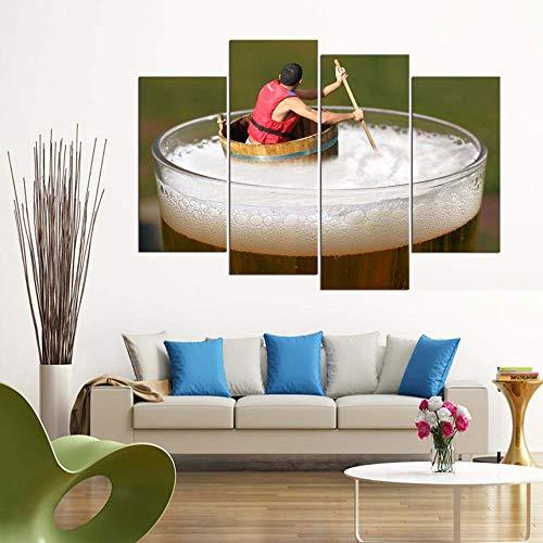 KOPASD Rafting de Cerveza 4 Panel Lámina del Paisaje del Arte impresión en Lona Cuadros de la Pared de la Foto,para el hogar decoración Moderna impresión