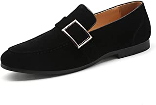 XinQuan Wang Fashion Oxfords for Men Loafers Slip on Suede Upper Round Toe Solid Color Stitched Wear-Resisting Monk Strap Decor Low Heel (Color : Black, Size : 5.5 UK)