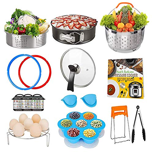 Pressure Cooker Accessory Set, Accessories 6 Qt Compatible with 6Qt Instant Pot, with Silicone Sealing Rings, Tempered Glass Lid, Steamer Basket, Non-Stick Springform Pan