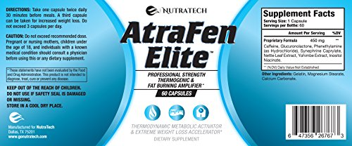 Atrafen Elite - Professional Formula Appetite Suppressant Fat Burner Diet Pill and Thermogenic for Fast Weight Loss. Works Great for Those on Keto Diets. 60 Count. 7