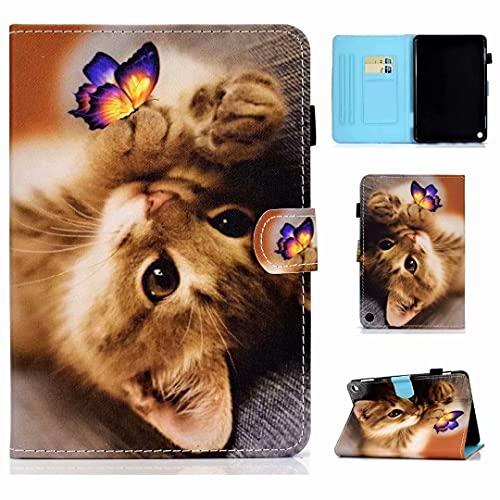 KRjcsfhy Funda para Samsung Galaxy Tab A7 Lite T220/T225 de piel sintética, función atril, funda con ranura para tarjeta con soporte para bolígrafo, funda protectora para tablet con mariposa gato