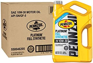 Pennzoil 550046205-3PK Platinum 5 quart 10W-30 Full Synthetic Motor Oil (SN