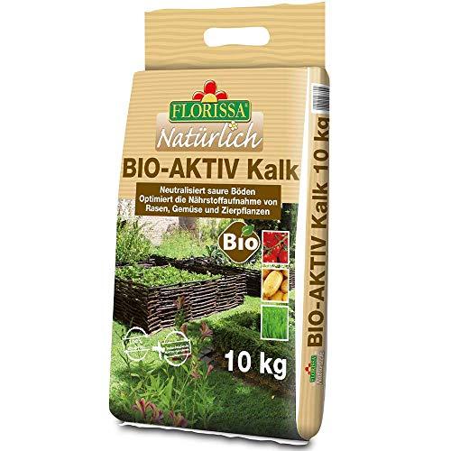 Florissa Natürlich 58669 BIO-AKTIV Kalk (10 kg) | für einen moosfreien Rasen | für Gemüse- und Zierpflanen und den ganzen Garten |bei der Trinkwasserentkalkung gewonnen, Braun