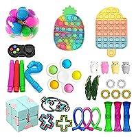 30個のPCSのFidget Toysパック、ポップバブル付きフィジットパックシンプルアンドディンプル、ストレスリシリング安いフィジットおもちゃの子供大人のためのセット (Color : Pack a)