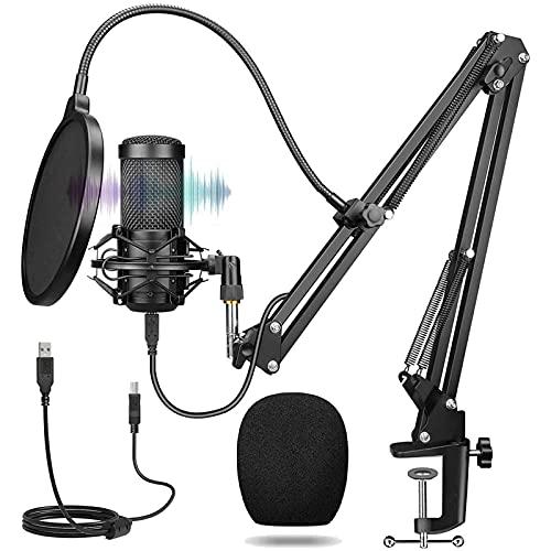 USB Mikrofon mit ständer, Professioneller Studio Kondensator Mikrofon,Stoßdämpferhalter und Popfilter, 192KHz/24Bit PC Podcast Mikrofon für Streaming,TikTok,YouTube,Rundfunk,Gaming-Aufnahm und Musik