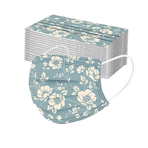 DeaAmyGline 50 Stück Einweg_Mund-Nasen-Schutz mit Blumen Motiv,Hohe-Filtration,Atmungsaktive,Multifunktionstuch Halstuch Bandana für Erwachsene